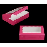 "2442 - 10"" x 7"" x 2 1/2"" Pink/White with Window, Lock & Tab Box with Lid"