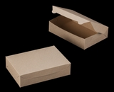 "2443 - 10"" x 7"" x 2 1/2"" Brown/Brown without Window, Lock & Tab Box With Lid. A16"