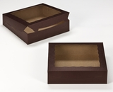 "2445 - 10"" x 10"" x 2 1/2"" Chocolate/Brown Lock & Tab Cookie Box with Window"