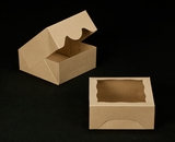 "2506 - 6"" x 6"" x 2 1/2"" Brown/Brown Timesaver Cookie Box with Window"
