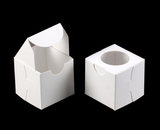 "2775 - 2 1/2"" x 2 1/2"" x 2 1/2"" White/White with Window, Lock &Tab Box With Lid. B04"
