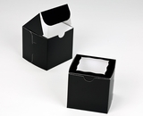 "2828 - 4"" x 4"" x 4"" Black/White with Window, One Piece Lock & Tab Box With Lid. B09"