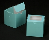 "2829 - 4"" x 4"" x 4"" Diamond Blue/White Lock & Tab Box with Window"