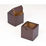 "2831 - 4"" x 4"" x 4"" Chocolate/Brown Lock & Tab Box with Window"