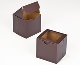 "2831 - 4"" x 4"" x 4"" Chocolate/Brown with Window, Lock & Tab Box With Lid"