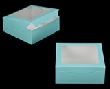 "2833 - 10"" x 10"" x 4"" Diamond Blue/White with Window, Lock & Tab Box With Lid. A27"