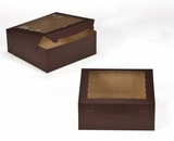 "2834 - 10"" x 10"" x 4"" Chocolate/Brown with Window, Lock & Tab Box With Lid. A23"