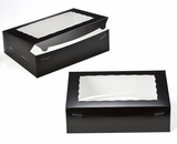"2873 - 14"" x 10"" x 4"" Black/White Lock & Tab Quarter Sheet Cake Box with Window"
