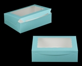 "2874 - 14"" x 10"" x 4"" Diamond Blue/White with Window, Lock & Tab Box With Lid"