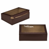 "2875 - 14"" x 10"" x 4"" Chocolate/Brown with Window, Lock & Tab Box With Lid"