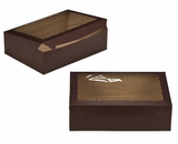 "2875 - 14"" x 10"" x 4"" Chocolate/Brown with Window, Lock & Tab Box With Lid. A29"