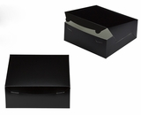 "2883 - 10"" x 10"" x 4"" Black/White without Window, Lock & Tab Box With Lid. A29"