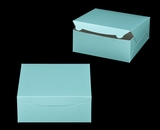 "2884 - 10"" x 10"" x 4"" Diamond Blue/White without Window, Lock & Tab Box With Lid. A29"