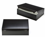 "2886 - 14"" x 10"" x 4"" Black/White Lock & Tab Quarter Sheet Cake Box without Window"