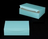 "2887 - 14"" x 10"" x 4"" Diamond Blue/White Lock & Tab Quarter Sheet Cake Box without Window"