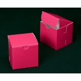"2909 - 4"" x 4"" x 4"" Pink/White Lock & Tab Box without Window"