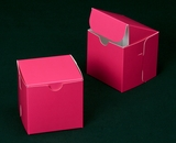 "2909 - 4"" x 4"" x 4"" Pink/White without Window, Lock & Tab Box With Lid. B10"