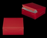 "2917 - 10"" x 10"" x 4"" Red/White without Window, Lock & Tab Box With Lid. A29"