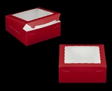 "2918 - 10"" x 10"" x 4"" Red/White with Window, Lock & Tab Box With Lid"