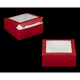 "2918 - 10"" x 10"" x 4"" Red/White Lock & Tab Box with Window"