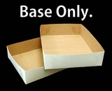 "292 - 19"" x 14"" x 4"" White/Brown Lock & Tab Half Sheet Cake Box Base Only, 50 COUNT"