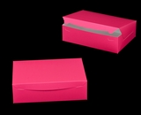 "2924 - 14"" x 10"" x 4"" Pink/White without Window, Lock & Tab Box With Lid. A37"
