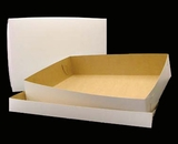 "292x291 - 19"" x 14"" x 4"" White/Brown Lock & Tab Half Sheet Cake Box Set, without Window, 50 COUNT"