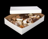 "292x291 - 19"" x 14"" x 4"" White/Brown Lock & Tab Pastry Box Set, without Window, 50 COUNT"