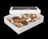"294x293 - 19"" x 14"" x 4"" White/White Lock & Tab Pastry Box Set with Window, 50 COUNT"