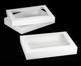 "296x295 - 26"" x 18"" x 4"" White/White Lock & Tab Full Sheet Cake Box Set with Window 50 COUNT"