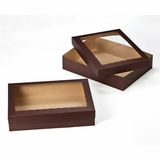 "3045x3049 - 19"" x 14"" x 4"" Chocolate/Brown Lock & Tab Box Set with Window"