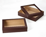 "3045x3049 - 19"" x 14"" x 4""  Chocolate Brown/Brown Lock & Tab Box Set with Window, 50 COUNT. A17xA09"