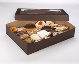 """3045x3049 - 19"""" x 14"""" x 4""""  Chocolate/Brown Lock & Tab Pastry Box Set with Window, 50 COUNT"""