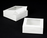 "3056 - 7"" x 7"" x 2 1/2"" White/White with Window, Lock & Tab Box with Lid. A11"