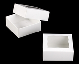 "3060x3488 - 4"" x 4"" x 1 3/4"" White/White Two Piece Simplex Cookie Box Set, with Window"
