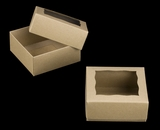 "3068x3489 - 4"" x 4"" x 1 3/4"" Brown/BrownSimplex Cookie Box Set, with Window"