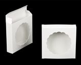 "3123 - 4 3/8"" x 4 3/8"" x 1"" White/White with Round Window Reverse Tuck Box. B04"