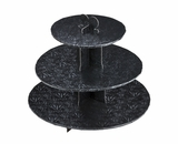 3152 - Black Cupcake Stand, 3 Tier Double Wall Corrugated