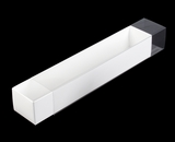 "3189x3554 - 12"" x 2 1/4"" x 2"" White/White Macaron Box Base with Clear Sleeve Set"