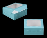 "3228 - 6"" x 6"" x 2 1/2"" Diamond Blue/White Lock & Tab Cookie Box with Window"