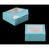 "3228 - 6"" x 6"" x 2 1/2"" Diamond Blue/White with Window, Lock & Tab Box With Lid"