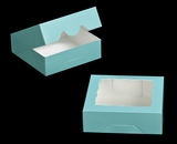 "3229 - 8"" x 8"" x 2 1/2"" Diamond Blue/White with Window, Timesaver Box With Lid. A18"