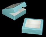 "3230 - 9"" x 9"" x 2 1/2"" Diamond Blue/White Timesaver Cookie Box with Window"