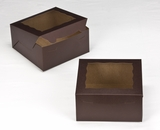 "3235 - 8"" x 8"" x 4"" Chocolate/Brown with Window, Lock & Tab Box with Lid. A18"