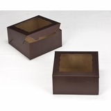"3235 - 8"" x 8"" x 4"" Chocolate/Brown Lock & Tab Box with Window"