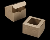 "3236 - 6"" x 6"" x 4"" Brown/Brown with Window, Lock & Tab Box With Lid. A15"