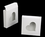 "3237 - 4 3/8"" x 4 3/8"" x 1"" White/White with Heart Window Reverse Tuck Box. B03"