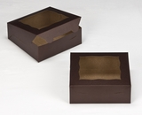 "3238 - 7"" x 7"" x 2 1/2"" Chocolate/Brown with Window, Lock & Tab Box with Lid. A09"