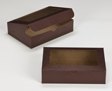 "3239 - 10"" x 7"" x 2 1/2"" Chocolate/Brown with Window, Lock & Tab Box With Lid. A14"