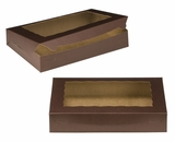 "3240 - 14"" x 10"" x 2 1/2"" Chocolate/Brown with Window, Lock & Tab Box With Lid. A23"
